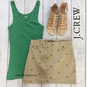 J. Crew khaki mini skirt with embroidered turtles